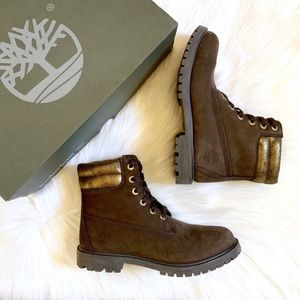 Timberland 6 Inch Double Collar Brown & Gold Boots